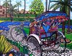 """Delhi Ricksahaw 11"""" x 14"""" Acrylic on Canvas Copyright Kay Enns"""