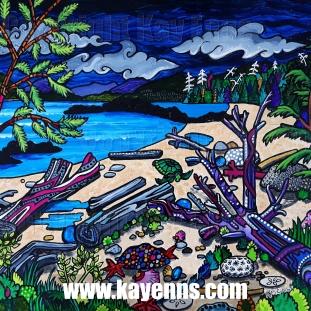 """Dusk at Tofino Beach 16"""" x 20"""" Acrylic c. Kay Enns"""